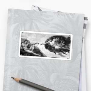 Black and White Creation of Adam Painting by Michelangelo Sistine Chapel Stickers