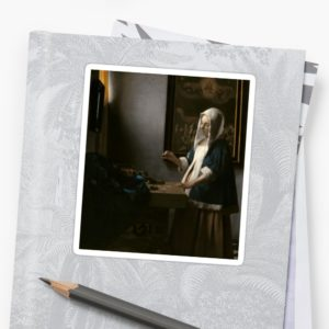 Woman Holding a Balance Oil Painting by Johannes Vermeer Stickers