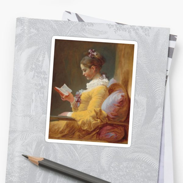 Young Girl Reading Painting by Jean-Honoré Fragonard Stickers