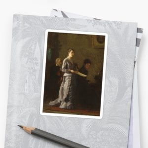 Singing a Pathetic Song Oil Painting by Thomas Eakins Stickers