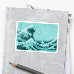 Aqua Blue Japanese Great Wave off Kanagawa by Hokusai Stickers