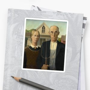 American Gothic Oil Painting by Grant Wood Stickers
