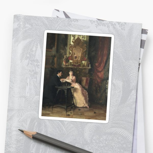 The Proposal Oil Painting by Knut Ekwall Stickers
