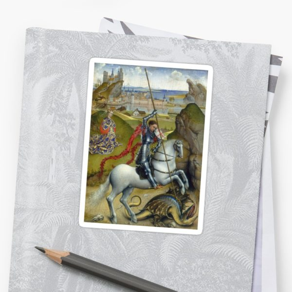 Saint George and the Dragon Oil Painting by Rogier van der Weyden Stickers
