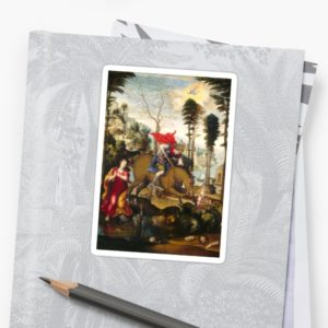 Saint George and the Dragon Oil Painting by Sodoma Stickers