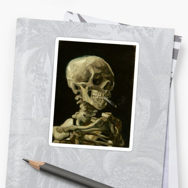 Skull of a Skeleton with Burning Cigarette by Vincent van Gogh Stickers
