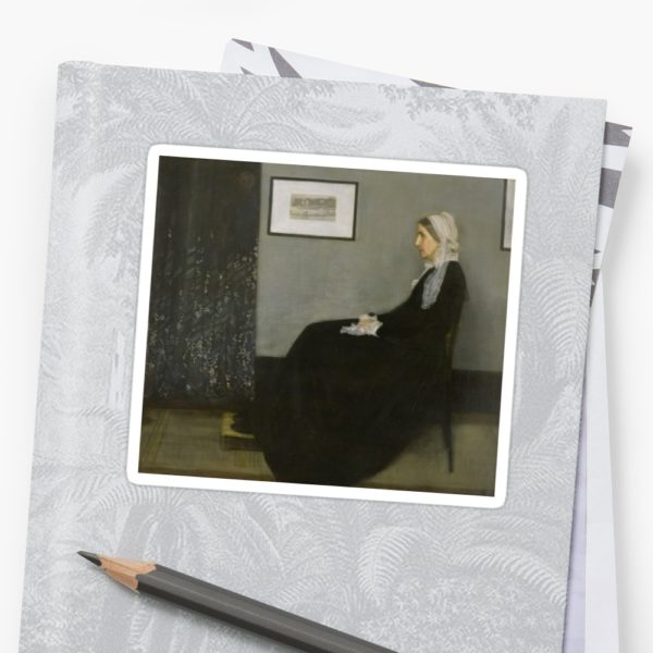 Whistlers Mother Oil Painting by James McNeill Whistler Stickers