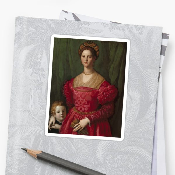 A Young Woman and Her Little Boy Oil Painting by Agnolo Bronzino Stickers