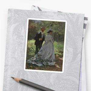 Bazille and Camille Painting by Claude Monet Stickers