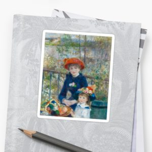 Two Sisters on the Terrace Oil Painting by Auguste Renoir Stickers