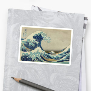 The Classic Japanese Great Wave off Kanagawa by Hokusai Stickers