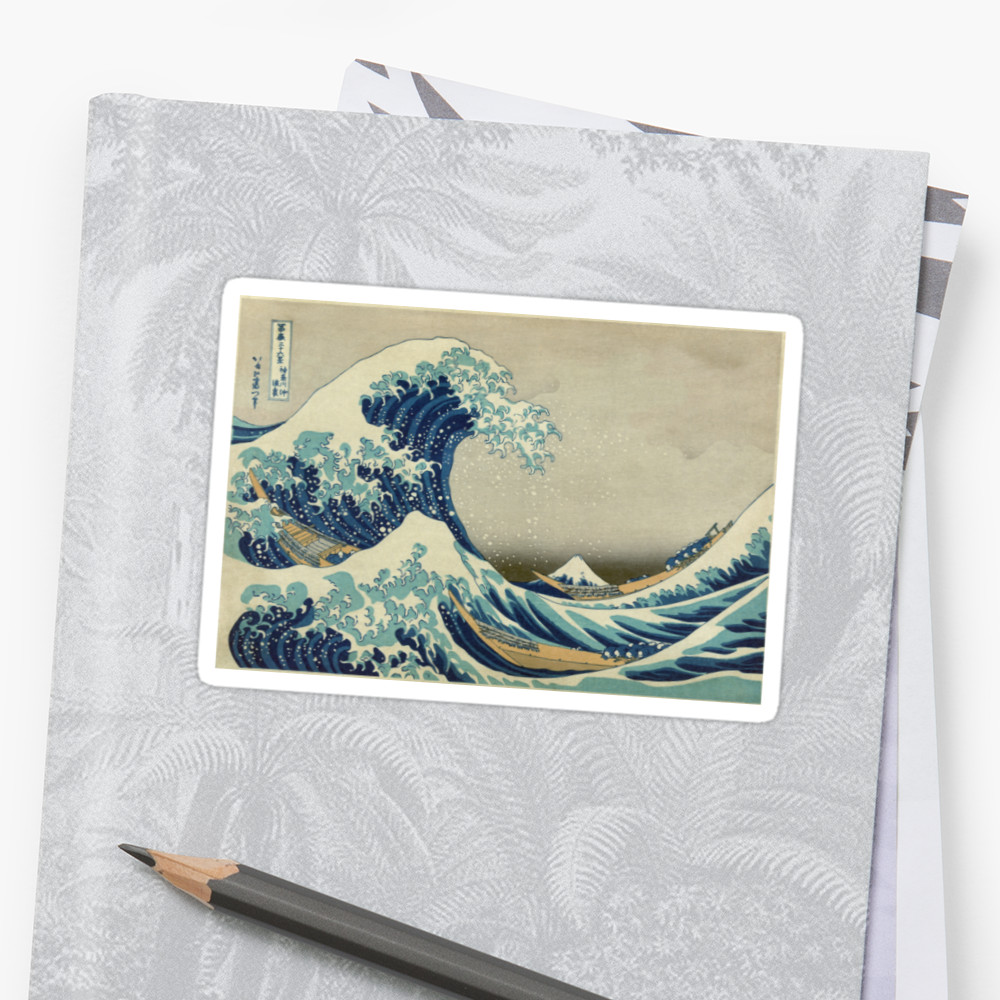8f423bcde214d The Classic Japanese Great Wave off Kanagawa by Hokusai Stickers ...
