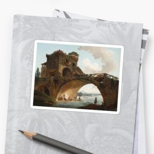 The Ponte Salario Oil painting by Hubert Robert Stickers