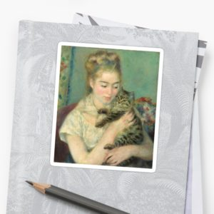 Woman with a Cat Oil Painting by Auguste Renoir Stickers