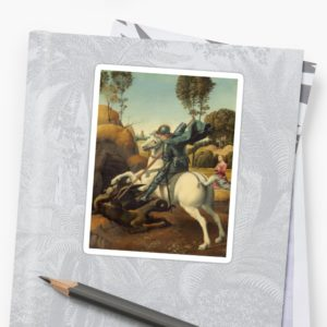 Saint George and the Dragon Oil Painting By Raphael Stickers