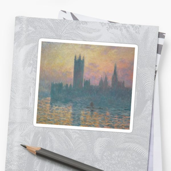 The Houses of Parliament  Sunset by Claude Monet Stickers