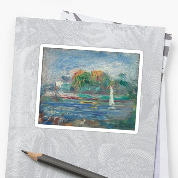 The Blue River Oil Painting by Auguste Renoir Stickers