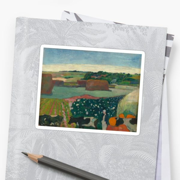 Haystacks in Brittany Oil Painting by Paul Gauguin Stickers