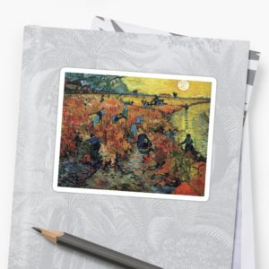 The Red Vineyards Oil Painting on Burlap by Vincent van Gogh Stickers