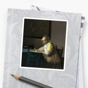 A Lady Writing Oil Painting by Johannes Vermeer Stickers