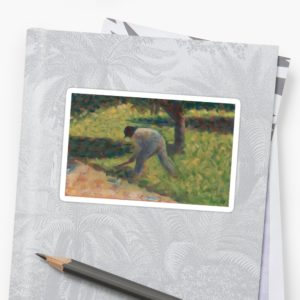 Peasant with a Hoe Oil Painting by Georges Seurat Stickers
