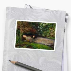 Ophelia Oil Painting by Sir John Everett Millais - Hamlet - Play Stickers