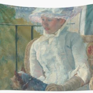 Young Girl at a Window Oil Painting by Mary Stevenson Cassatt Wall Tapestries