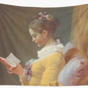 Young Girl Reading Painting by Jean-Honoré Fragonard Wall Tapestries