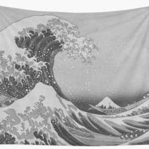 Black and White Japanese Great Wave off Kanagawa by Hokusai Wall Tapestries