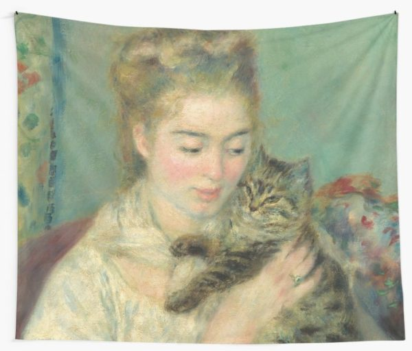 Woman with a Cat Oil Painting by Auguste Renoir Wall Tapestries