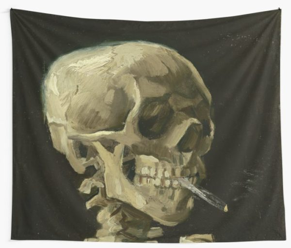 Skull of a Skeleton with Burning Cigarette by Vincent van Gogh Wall Tapestries