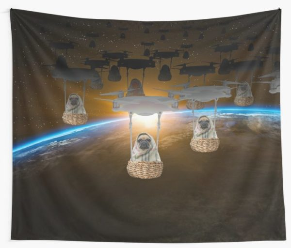 Pugvasion Alien Invasion by Drone Wall Tapestries