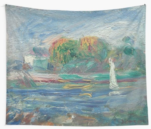 The Blue River Oil Painting by Auguste Renoir Wall Tapestries