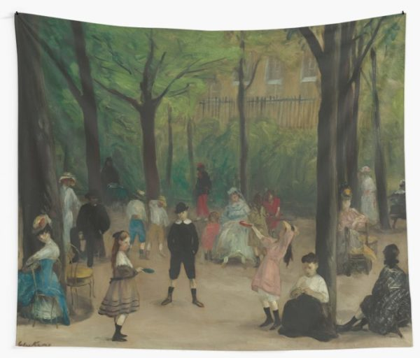 Luxembourg Gardens Oil Painting by William James Glackens Wall Tapestries