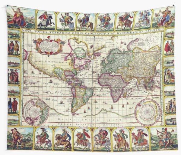 Vintage 1652 World Map by Claes Janszoon Visscher Wall Tapestries