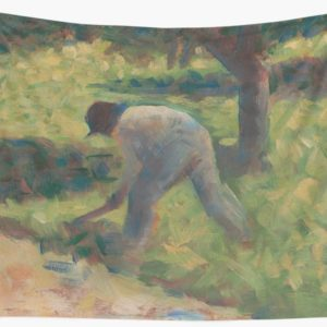 Peasant with a Hoe Oil Painting by Georges Seurat Wall Tapestries