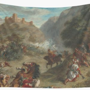 Arabs Skirmishing in the Mountains Oil Painting by Eugène Delacroix Wall Tapestries