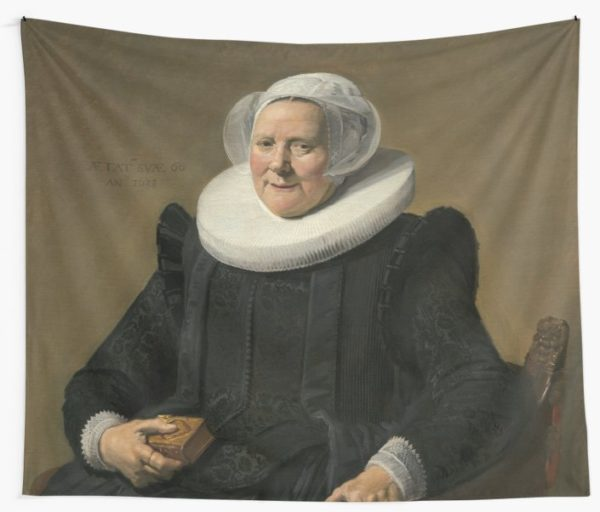 Portrait of an Elderly Oil Painting Lady by Frans Hals Wall Tapestries