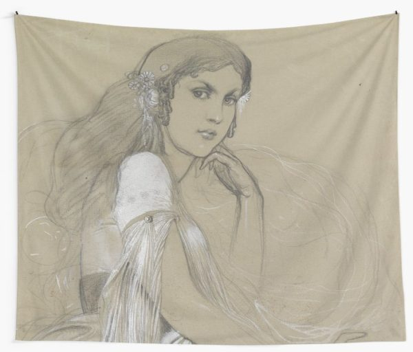 The artists daughter by Jaroslava Drawing Wall Tapestries