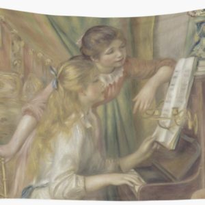 Young Girls at the Piano Oil Painting by Pierre Auguste Renoir Wall Tapestries