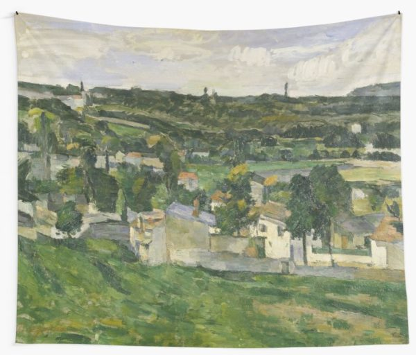 Stolen Art - View of Auvers-sur-Oise by Paul Cezanne Wall Tapestries