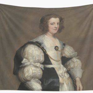 Lady with a Fan Oil Painting by Sir Anthony van Dyck Wall Tapestries