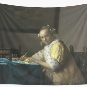 A Lady Writing Oil Painting by Johannes Vermeer Wall Tapestries