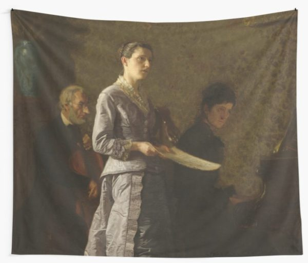 Singing a Pathetic Song Oil Painting by Thomas Eakins Wall Tapestries