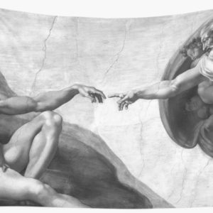 Black and White Creation of Adam Painting by Michelangelo Sistine Chapel Wall Tapestries