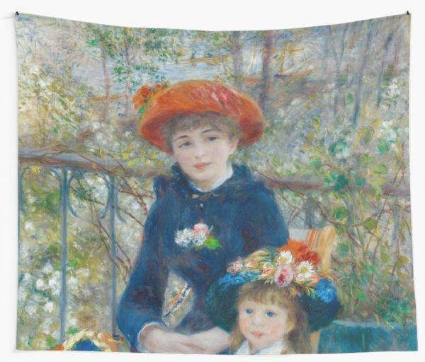 Two Sisters on the Terrace Oil Painting by Auguste Renoir Wall Tapestries