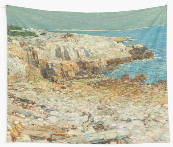 A North East Headland Oil Painting by Childe Hassam Wall Tapestries