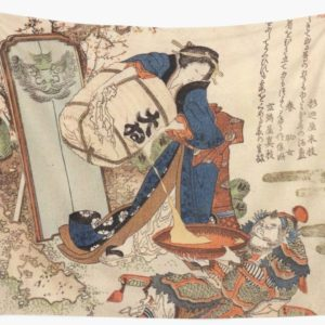 The Strong Oi Pouring Sake by Katsushika Hokusai Wall Tapestries