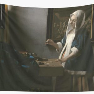 Woman Holding a Balance Oil Painting by Johannes Vermeer Wall Tapestries