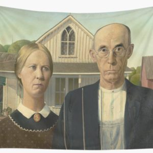 American Gothic Oil Painting by Grant Wood Wall Tapestries